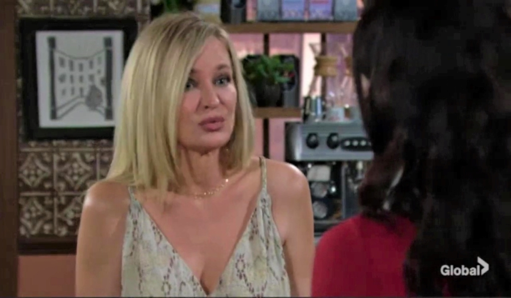 Sharon and Tessa worry about Mariah at Crimson Lights Y&R