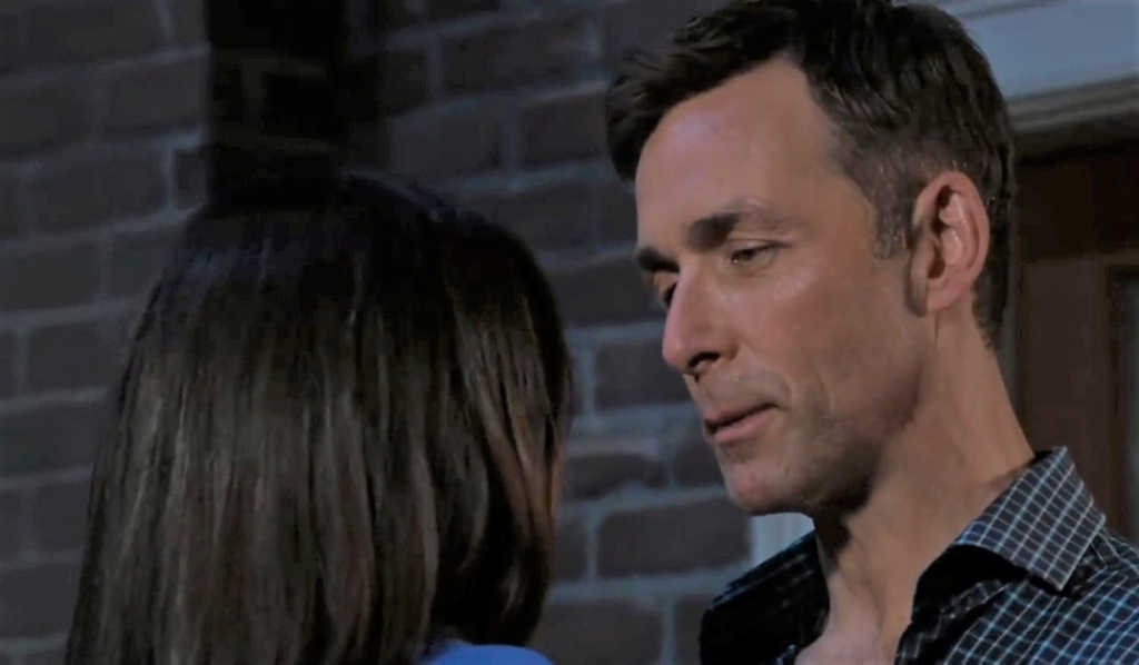 Valentin and Anna discuss kiss on patio General Hospital