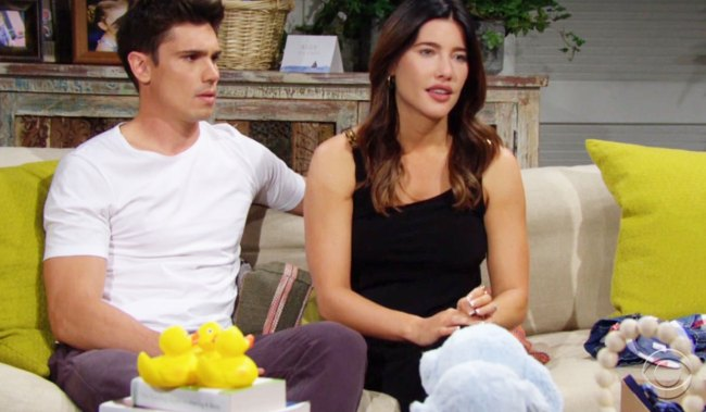 steffy and finn talk to wyatt and flo about thomas bb