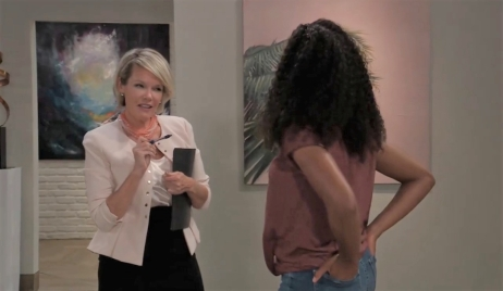 Ava questions Trina about her mom at gallery General Hospital