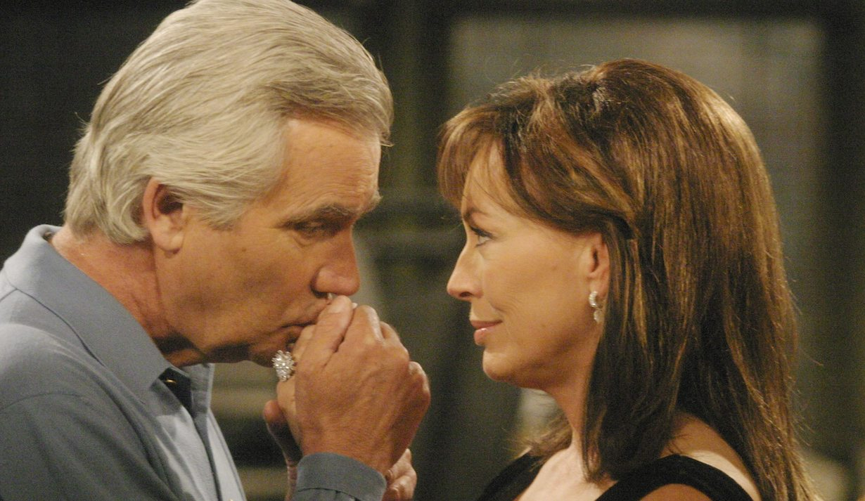 """Lesley Anne Down, John McCook """"The Bold and the Beautiful"""" Set CBS Television City 10/19/05 ©Brian Lowe/jpistudios.com 310-657-9661 Episode # 4689"""