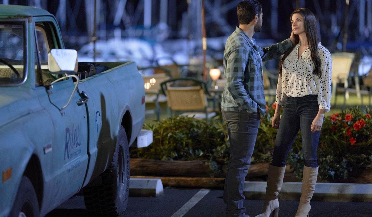 Chesapeake Shores season five Abby and Trace on the docks hallmark