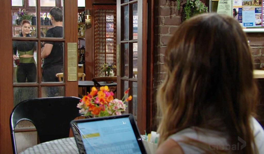 Chloe watches Adam, Sally Y&R