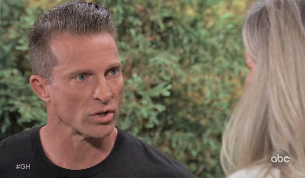 Jason and Carly talk Britt on Quartermaine patio General Hospital