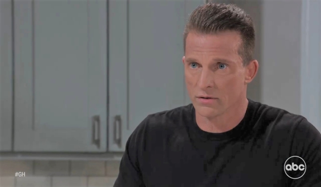 Jason tries to reassure Carly in Corinthos kitchen General Hospital