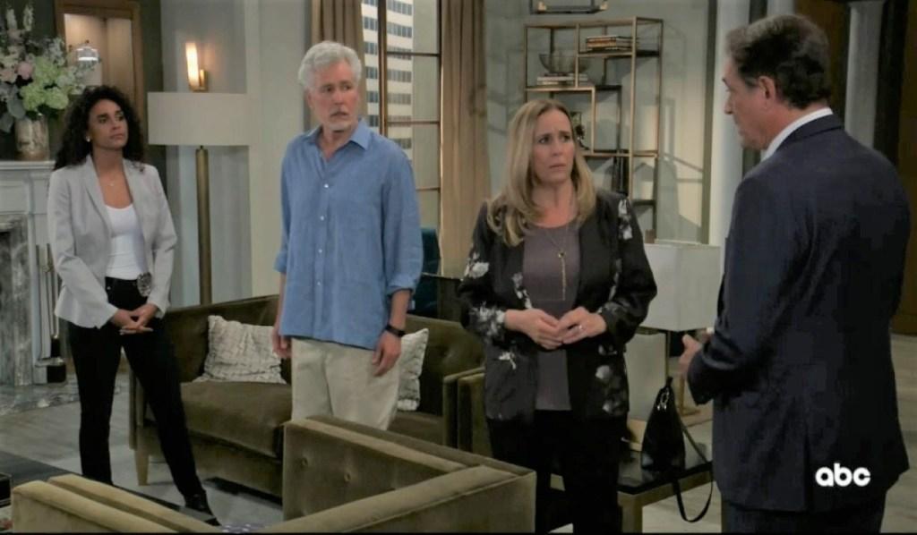 Jordan tells Kevin, Laura and Martin of Cyrus threat at home General Hospital