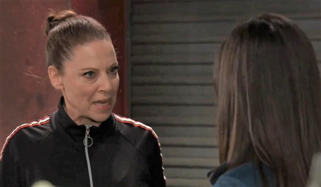 Obrecht warns Anna in gym General Hospital