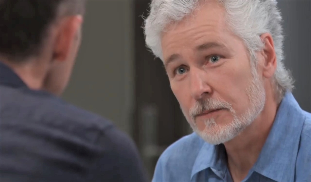 Martin and Valentin discuss Anna at pool General Hospital