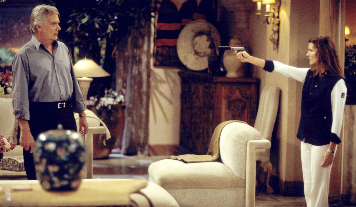 "John McCook and Kimberlin Brown eric sheila gun ""Bold and the Beautiful"" SetCBS Television City9/17/02©Aaron Montgomery/JPI310-657-9661Episode# 3904"