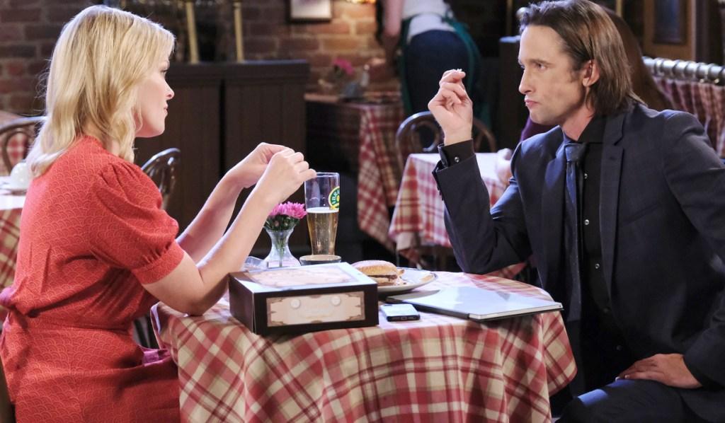 Belle and Philip talk at Brady's Pub
