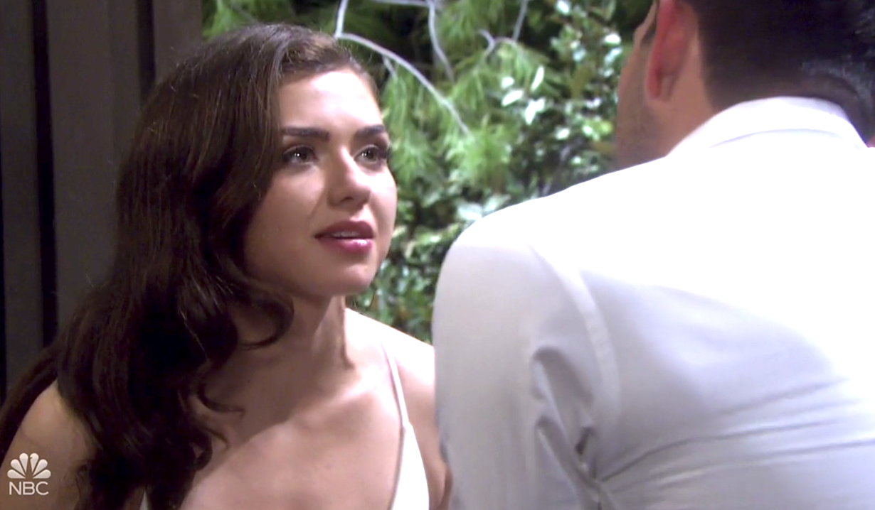 Ciara crouches down next to Ben at the cabin on Days of Our Lives