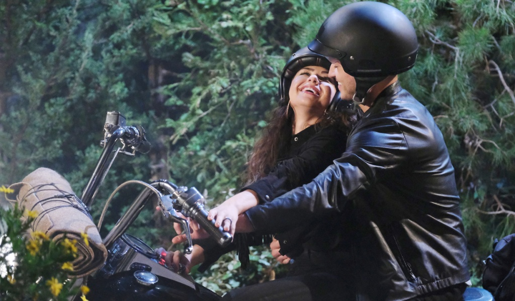 Ben and Ciara flirt on a motorcycle on Days of Our Lives