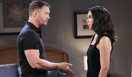 Brady and Chloe disagree in a hotel room on Days of Our Lives