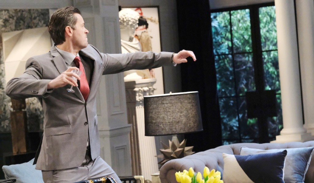 EJ throws a glass in the DiMera living room on Days of Our Lives