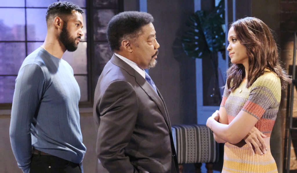 Eli, Abe and Lani talk at the loft on Days of Our Lives