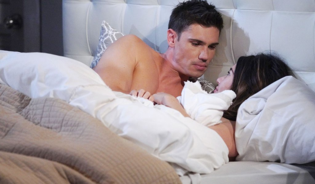 finn and steffy talk in bed bb