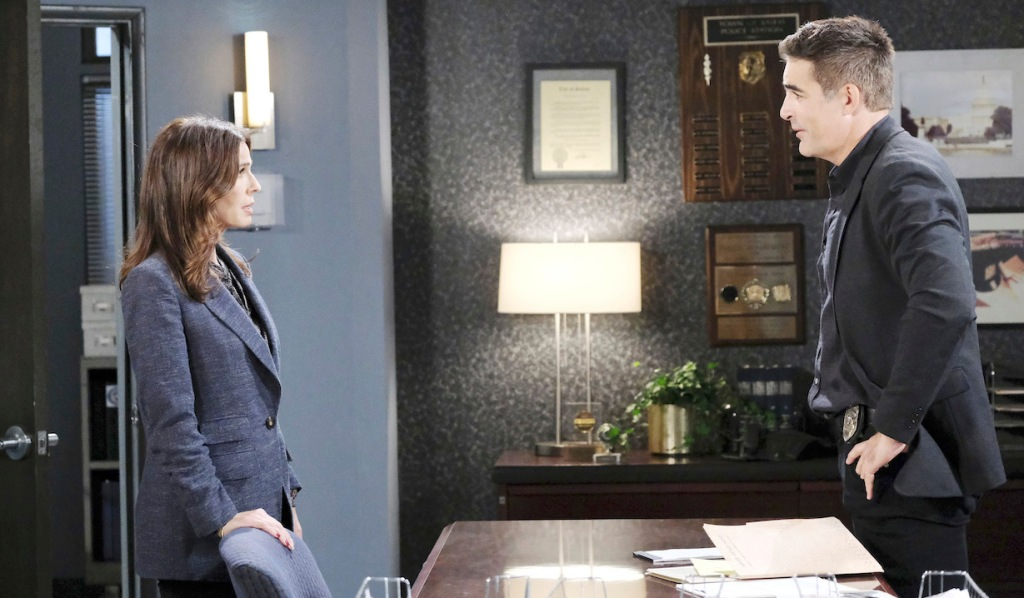 Hope and Rafe at the SPD on Days of our Lives