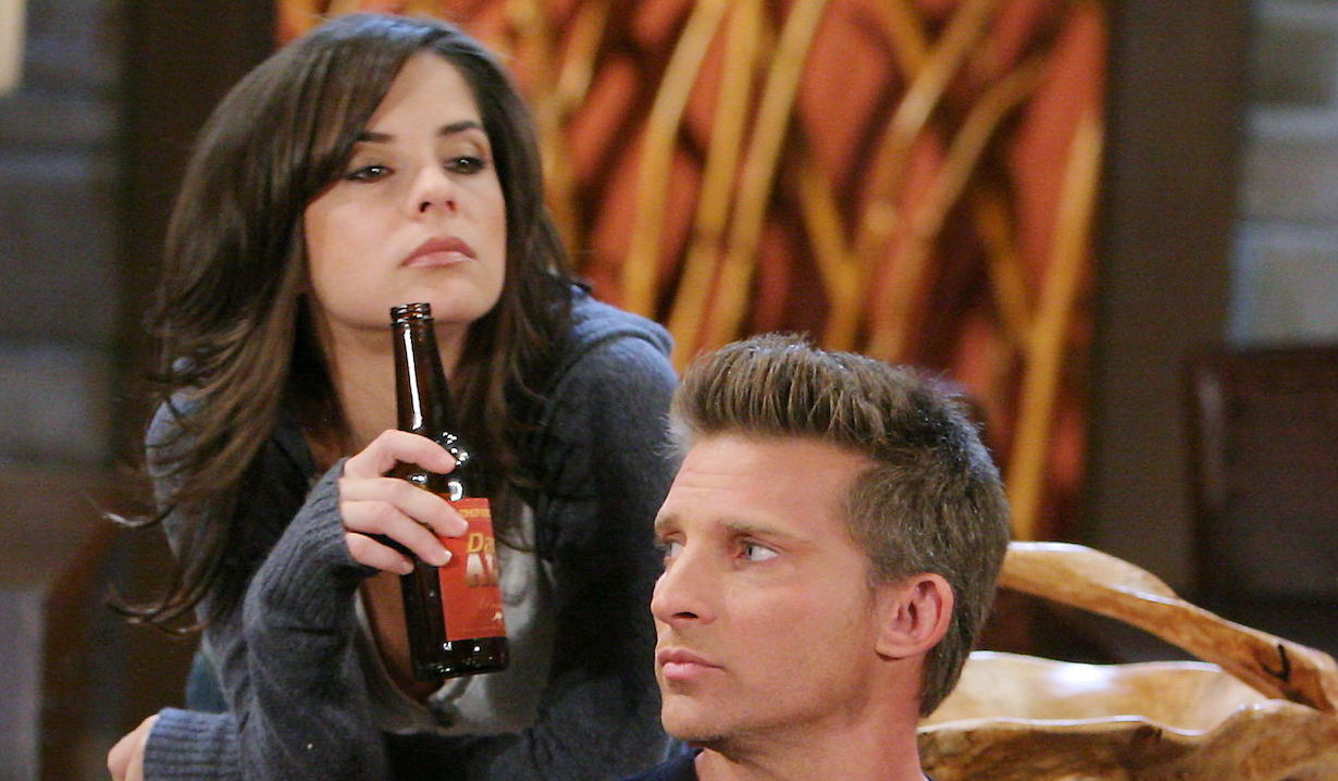Jason Morgan and Sam McCall drink beer at the penthouse on General Hospital