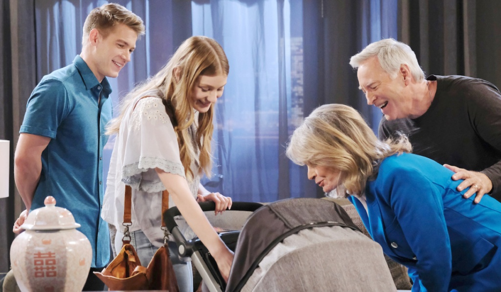 John and Marlena visit with Tripp, Allie and Henry on Days of Our Lives