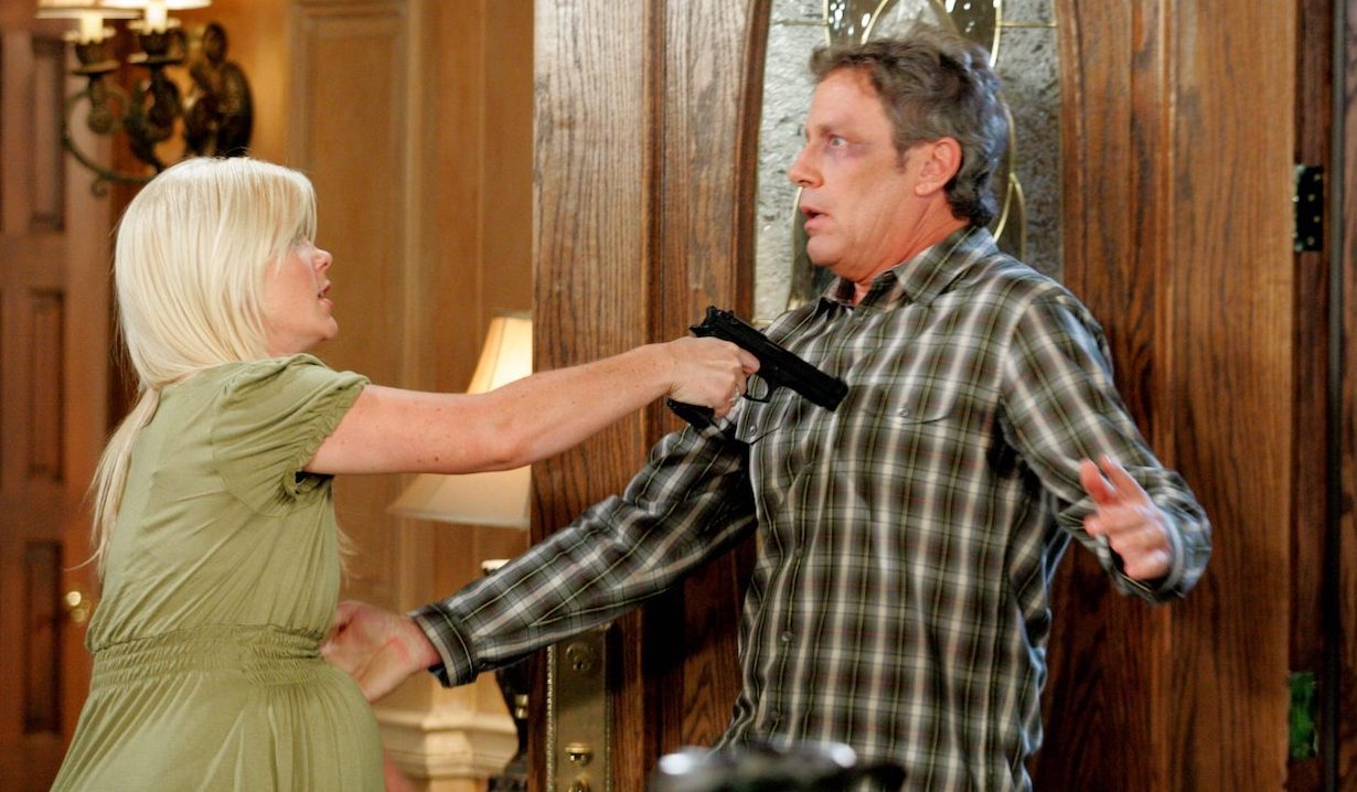 Sami Brady holds Bart Beiderbecke at gunpoint on Days of our Lives