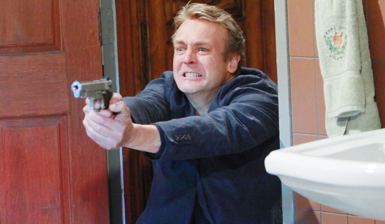 """Doug Davidson paul shoots gun ricky """"The Young and the Restless"""" Set CBS television CityLos Angeles05/18/12©Howard Wise/jpistudios.com310-657-9661Episode # 9938U.S. Airdate 06/29/12"""