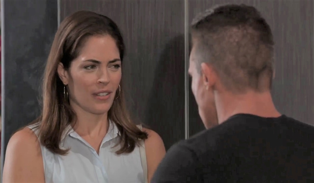 Britt questions Jason about the wedding at Metro Court General Hospital