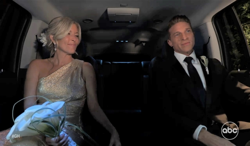 Jason and Carly in car after wedding General Hospital
