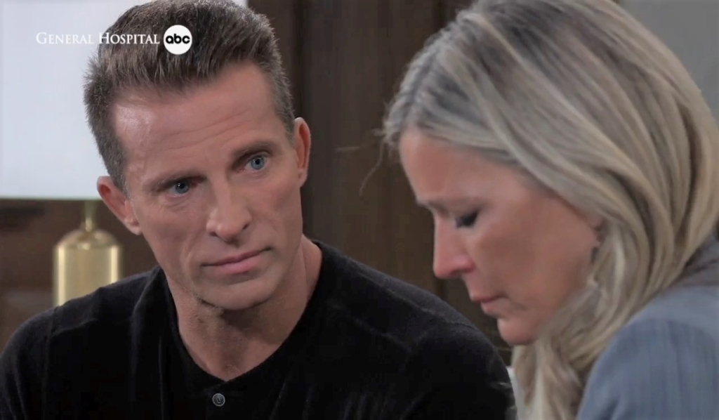 Jason and Carly discuss their next move at Corinthos compound General Hospital