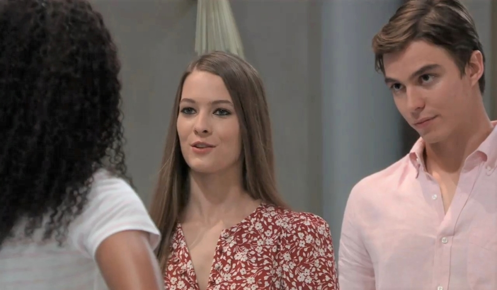 Esme confronts Trina about her feelings for Spencer by pool General Hospital