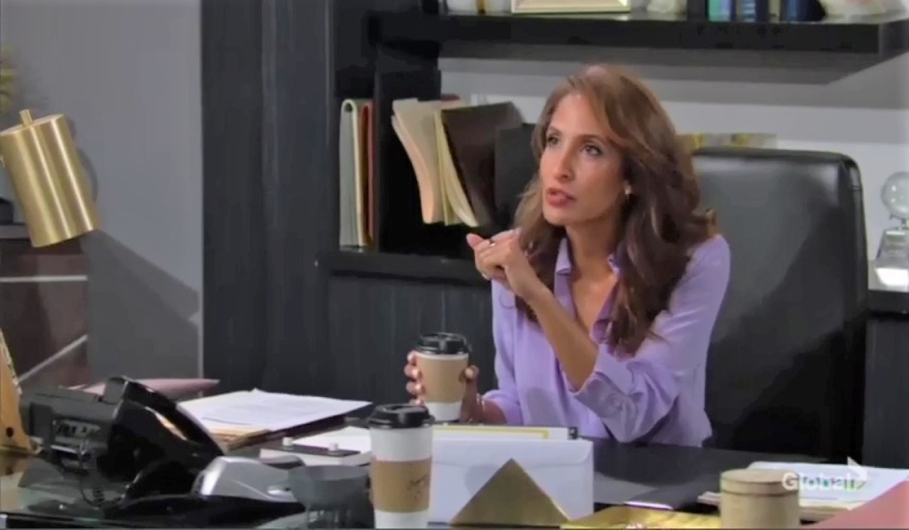 Lily and Billy debate evidence at Chance Com Y&R