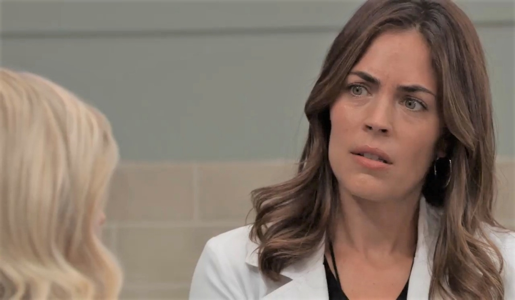 Maxie and Britt discuss the wedding at General Hospital