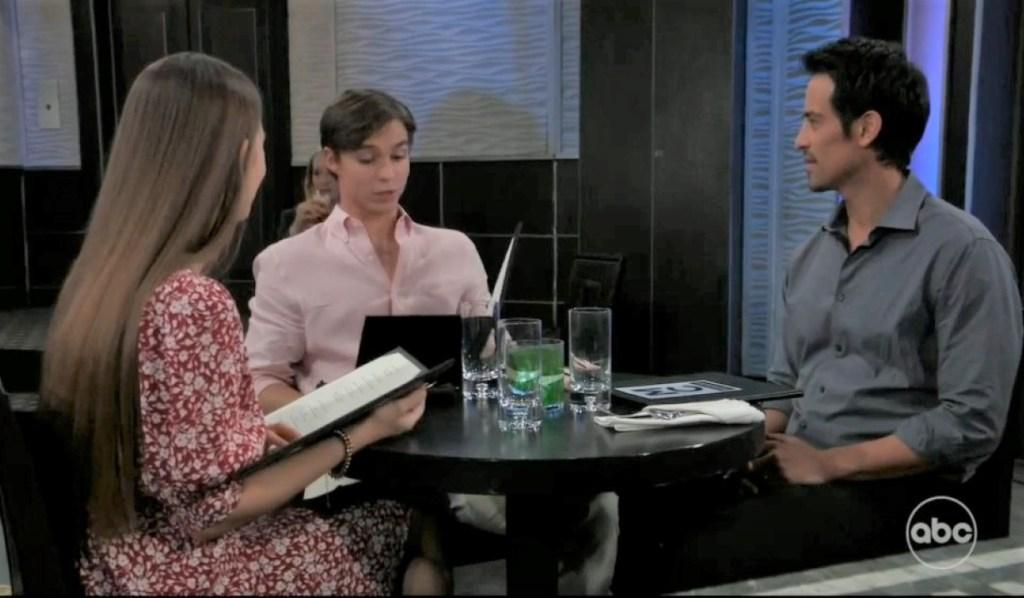 Nikolas, Esme and Spencer have dinner at Metro CourtGeneral Hospital