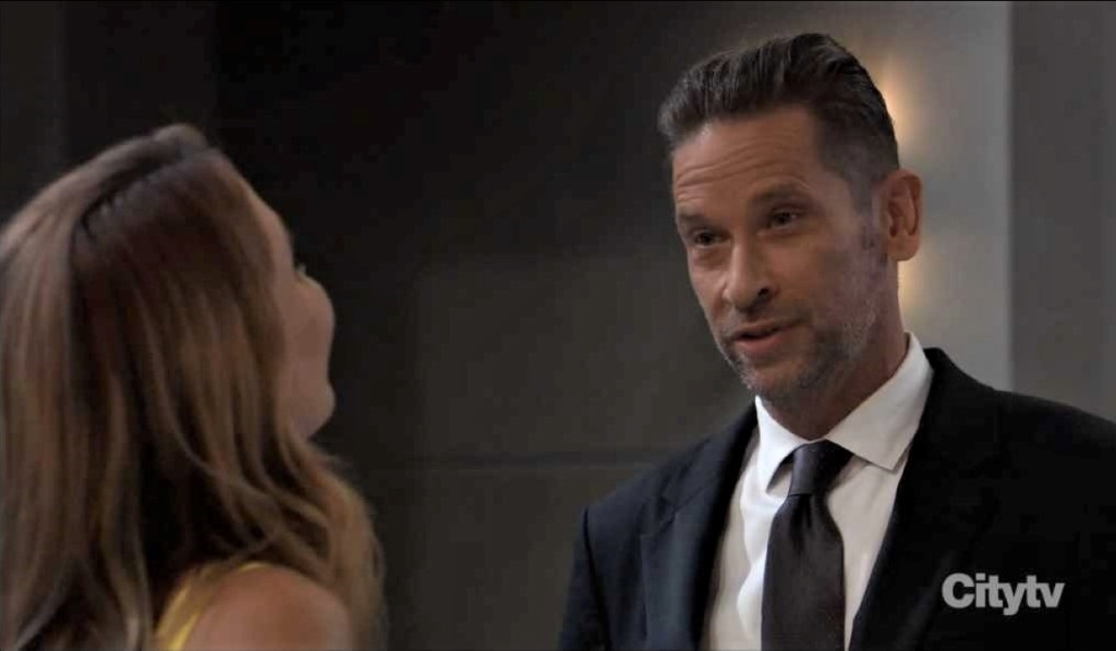 Olivia bickers with Austin at reception General Hospital