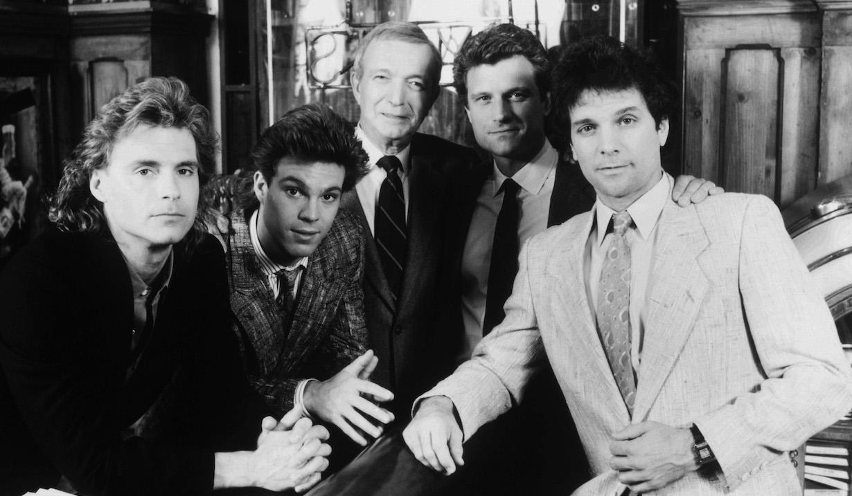 RYAN'S HOPE, from left: Christopher Durham, Jason Adams, Bernard Barrow, John Sanderford, Malcolm Groome (ca. 1987), 1975-89.