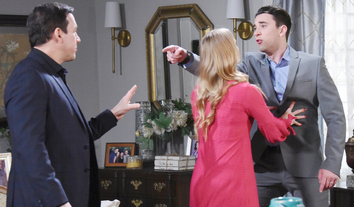 Abigail tries to hold Chad back from going after Stefan on Days of Our Lives