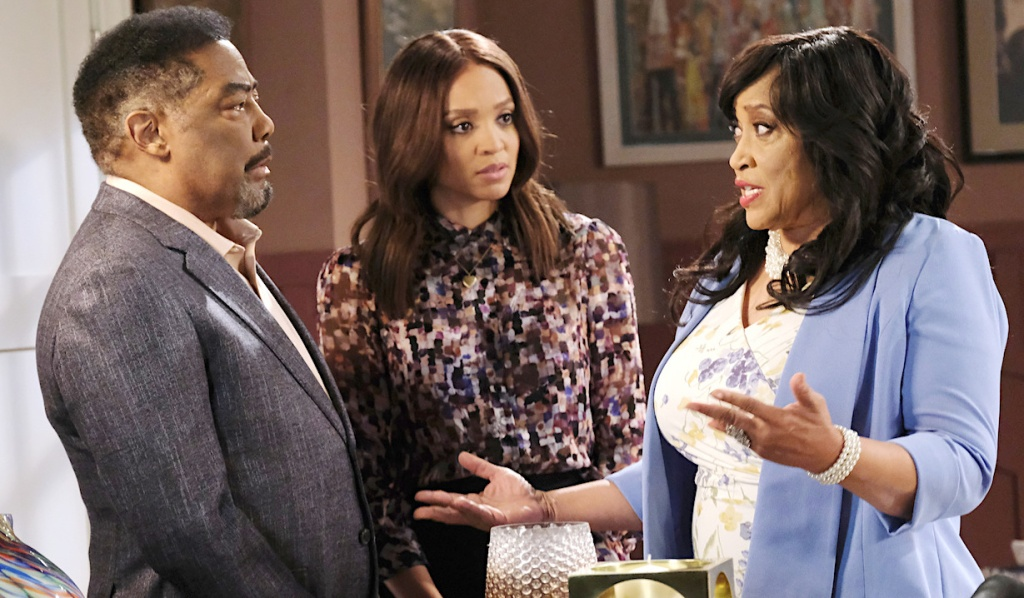 Abe and Lani listen to Paulina at her apartment on Days of Our Lives