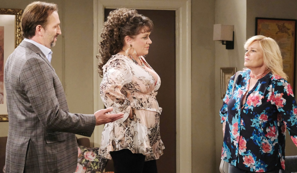 Bonnie defiantly faces Calista and her husband on Days of Our Lives