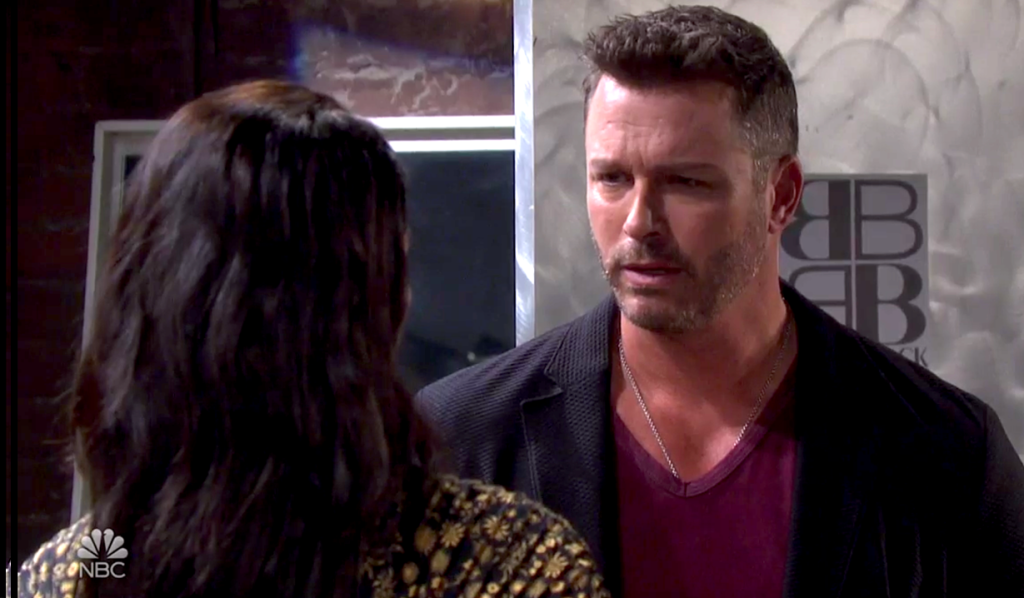 Brady and Chloe talk at Basic Black on Days of Our Lives