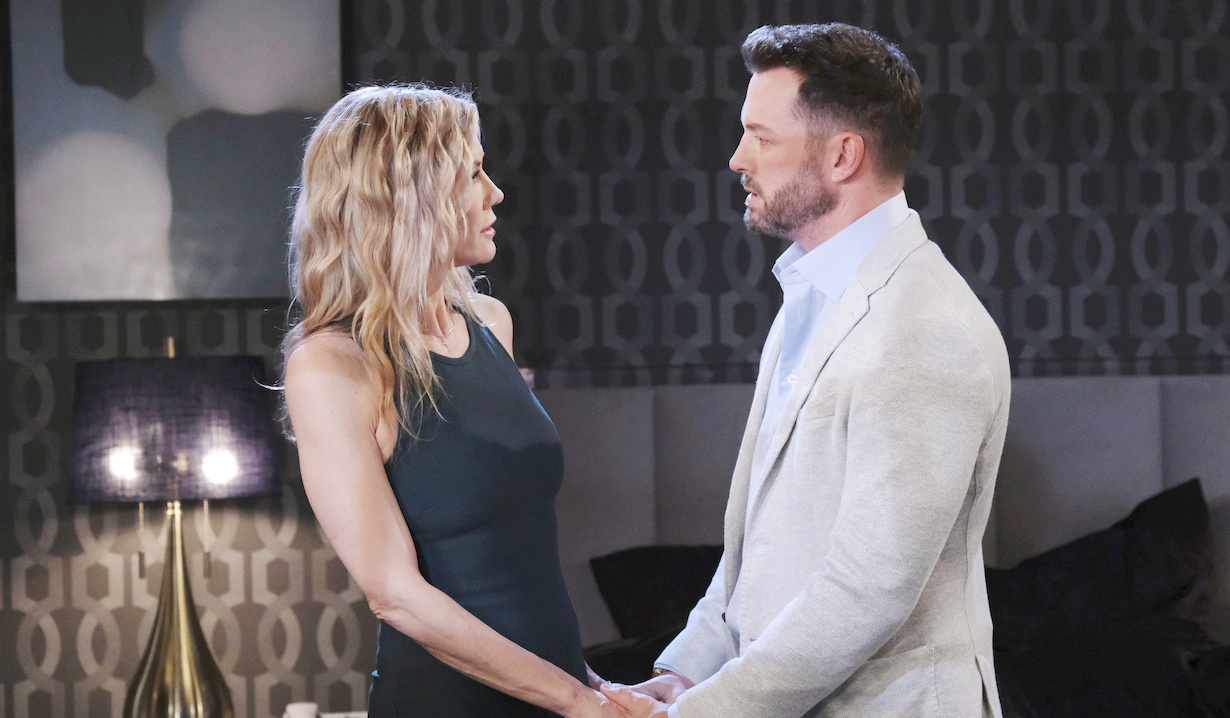 Brady and Kristen talk in hotel room on Days of our Lives