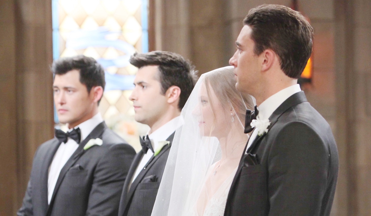 Paul, Sonny, Abby and Chad stand at the altar on Days of Our Lives