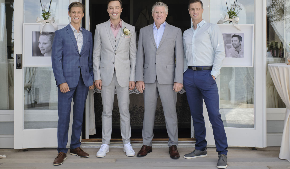Chesapeake shores connor, david, mick and kevin at wedding hallmark