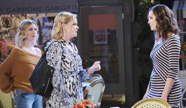 Belle confronts Jan in Horton Square on Days of our Lives