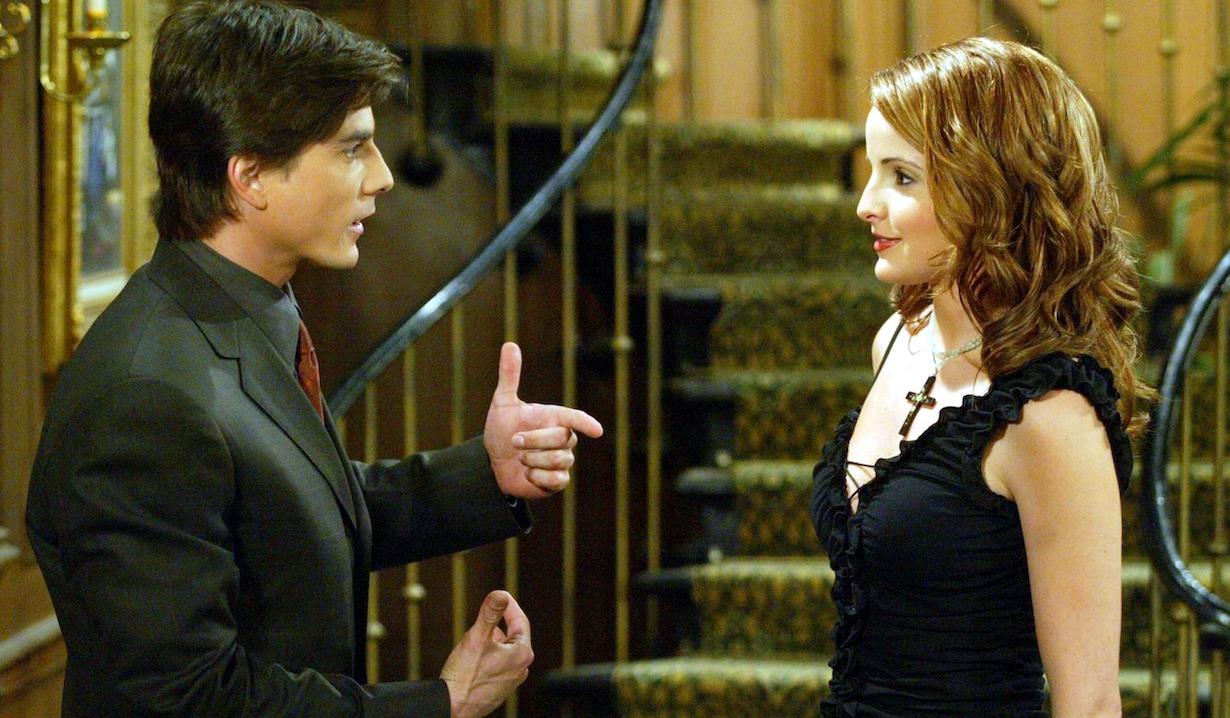 "Alexis Thorpe and Bryan Dattilo ""Days of our Lives"" Set NBC Studios 4/23/03 ©Aaron Montgomery/JPI 310-657-9661 Episode # 9559"