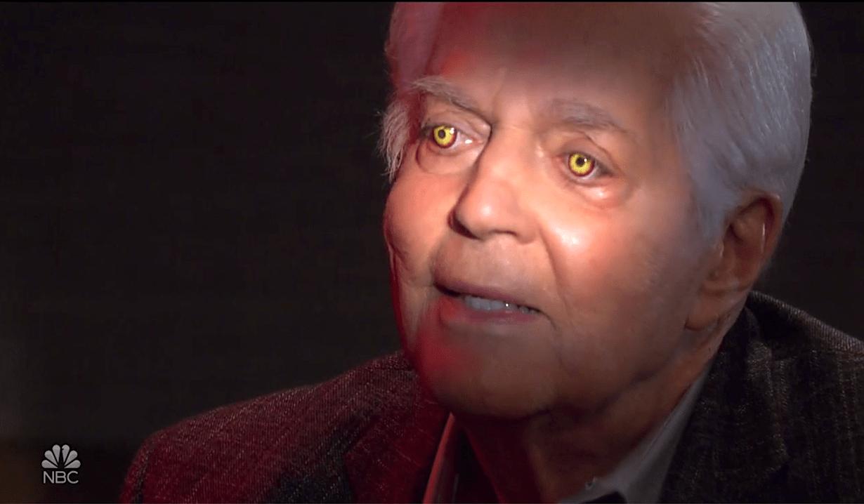 Demon Doug's eyes glow yellow