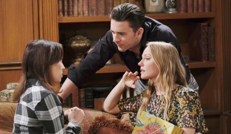 Chad, Abigail and Gwen at the DiMera mansion on Days of our Lives
