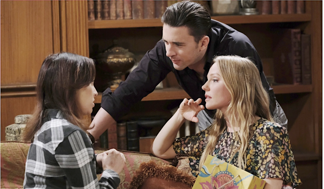 Gwen talks to Chad and Abigail at the DiMera mansion on Days of Our Lives