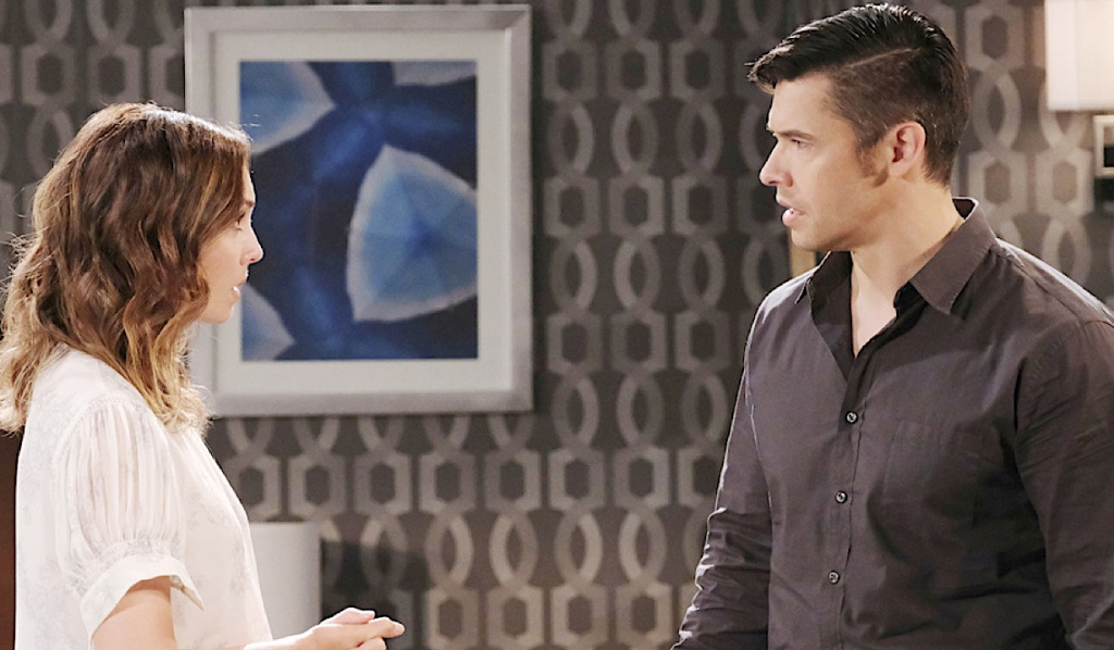 Gwen and Xander talk at the Salem Inn on Days of Our Lives