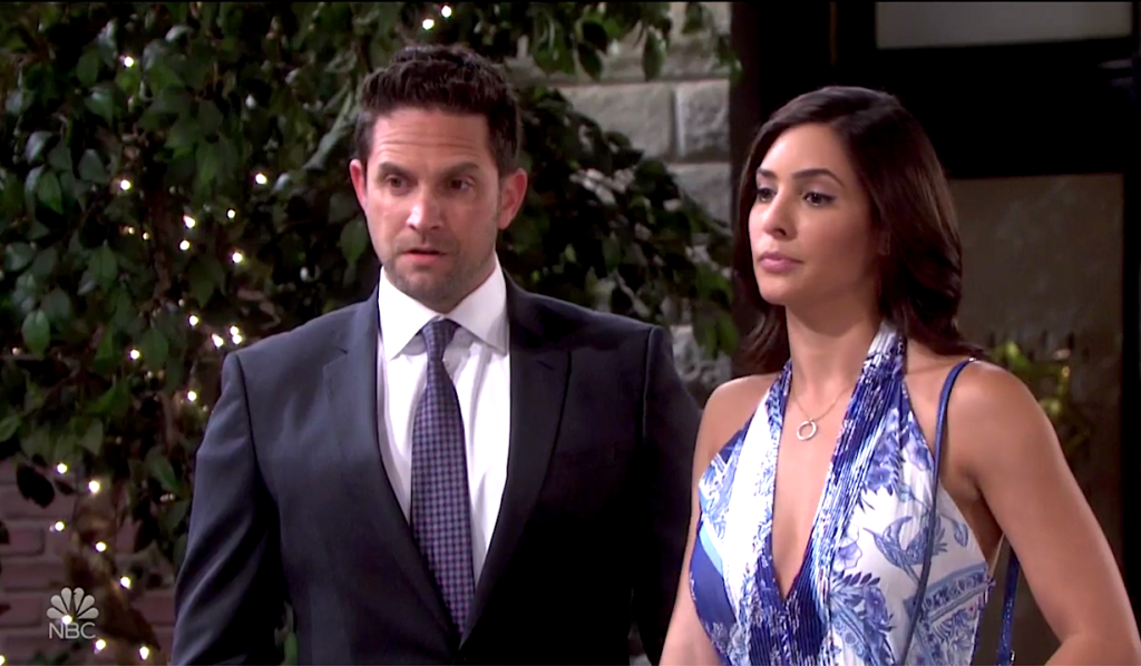 Jake and Gabi as a united front in Horton Square on Days of Our Lives