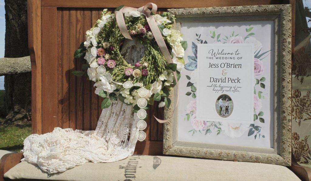 jess and david's wedding sign chesapeake shores hallmark