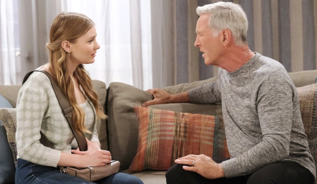 John talks to an emotional Allie on his couch on Days of Our Lives
